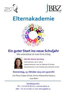 """Elternakademie zum Thema """"Ein guter Start in neue Schuljahr"""" @ ZPC Schule - BE-Saal OG2"""